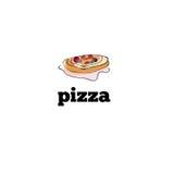 De hand van het pizzapictogram voor menu wordt getrokken dat Stock Afbeelding