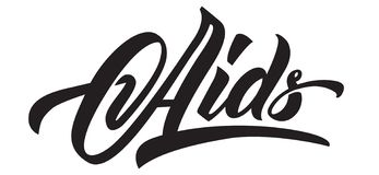 De hand van de hulpdag het van letters voorzien Zwarte kalligrafie vector illustratie