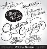 De hand van Kerstmis het van letters voorzien reeks Royalty-vrije Stock Fotografie