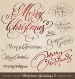 De hand van Kerstmis het van letters voorzien reeks Stock Fotografie