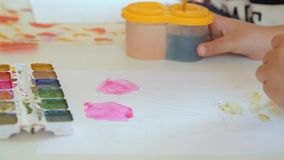 De hand van de kinderen van de kunstenaar neemt verf op de borstel op stock footage
