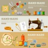 De hand van kleermakersbanners - de gemaakte huizen van de conceptenmanier Royalty-vrije Stock Afbeeldingen