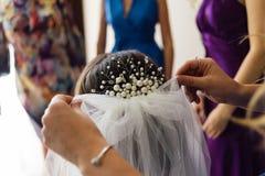 De hand van de meester op kapsels die een sluier bij de bruid nagolove verbetert stock fotografie