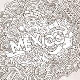 De hand van Mexico het van letters voorzien en krabbelselementen Stock Afbeelding