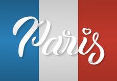 De hand van Parijs het van letters voorzien Stock Afbeelding