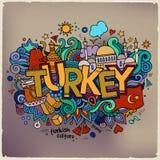 De hand van Turkije het van letters voorzien en krabbelselementen Stock Foto