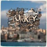 De hand van Turkije het van letters voorzien en krabbelselementen stock illustratie