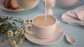 De hand van de vrouw het gieten van glaskruik in een kop thee of koffie verse melk Het concept van het ontbijt stock videobeelden