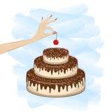 De hand van de vrouw zet een kers bovenop een cake op de witte blauwe achtergrond van Th, vierkante vectorillustratie vector illustratie