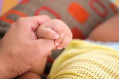 De hand van weinig zoon houdt de vinger van de papa Royalty-vrije Stock Foto