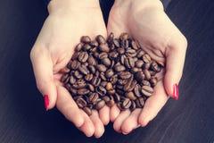 De hand van Womanhoudt koffiebonen op een donkere achtergrond Stock Fotografie