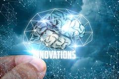 De hand zet innovaties in hersenen stock afbeelding