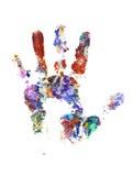 De handaf:drukken van de kleur op wit Stock Afbeeldingen