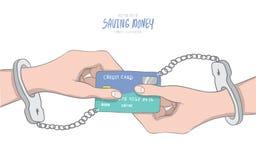 De handboeien om:doen die handen aan een creditcard worden gebonden als oneindigheid wordt gevormd Royalty-vrije Stock Afbeeldingen
