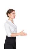 De handdruk van de bedrijfsvrouwenaanbieding Stock Afbeelding