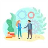 De handdruk van partners in zaken of studie vector illustratie