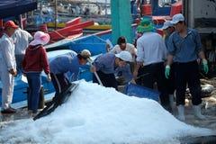 De handel van tonijnvissen bij de vissenhaven van Qui Nhon, Vietnam Stock Afbeelding
