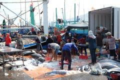 De handel van tonijnvissen bij de vissenhaven van Qui Nhon, Vietnam Royalty-vrije Stock Foto's