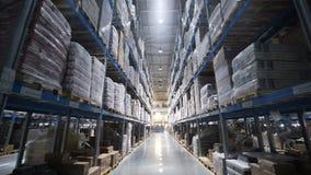 De handelsstructuur van de pakhuizen grote logistiek met dozen stock footage
