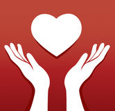 De handen bidden in een vector van de hartvorm Stock Afbeeldingen