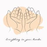 De handen die borstel houden strijkt vectorillustratie met motivatiecitaat alles in uw handen vector illustratie