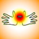 De handen die van de energie magische machtsbal tonen Stock Afbeeldingen