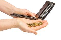 De handen die van de vrouw muntstukken houden Stock Foto