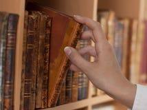 De Handen die van de vrouw oude boeken houden Royalty-vrije Stock Foto