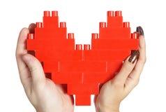 De handen die van de vrouw rood hart houden Stock Foto
