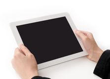 De handen die van Womans een tabletPC houden Stock Afbeeldingen