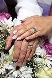 De handen en de ringen van het huwelijk op bloemen Royalty-vrije Stock Fotografie