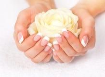 De handen en de spijkers van de mooie vrouw met Franse manicure Royalty-vrije Stock Foto's