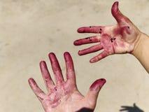 De handen en de vingers schilderden rood royalty-vrije stock fotografie