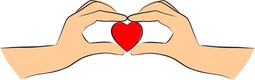 De handen is hartvorm vector illustratie