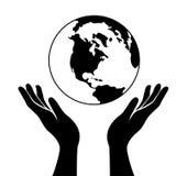 De handen houden de wereld Stock Foto's