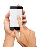 De handen houden en punt op Slimme Telefoon Royalty-vrije Stock Foto
