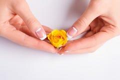 De handen met Franse manicure die geel namen houden toe Royalty-vrije Stock Foto's