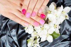 De handen met manicured spijkers op bloemenachtergrond Royalty-vrije Stock Afbeeldingen
