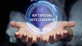 De handen tonen om hologramkunstmatige intelligentie stock video