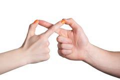 De handen tonen oneindigheidsteken Stock Afbeeldingen