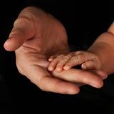 De handen van de baby met vaders Royalty-vrije Stock Foto