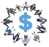 De Handen van de bedrijfsmensenholding en Dollarteken Stock Fotografie