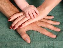 De handen van de familie Stock Foto's