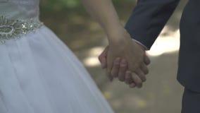 De Handen van de Holding van de bruid en van de Bruidegom stock video
