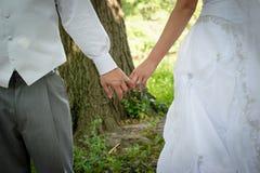 De Handen van de Holding van de bruid en van de Bruidegom Royalty-vrije Stock Fotografie