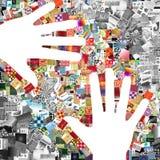De handen van de kunstenaar Stock Foto