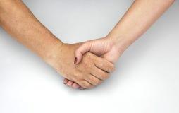 De handen van de mens en vrouw vingen 11 samen september, 2016 Royalty-vrije Stock Fotografie