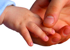 De handen van de moeder en van de baby stock afbeeldingen