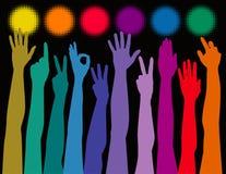 De handen van de regenboog Stock Afbeelding
