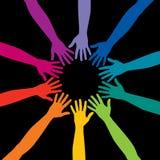 De handen van de regenboog Stock Afbeeldingen